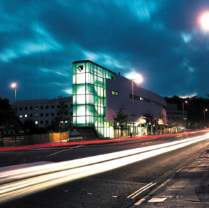 Gower Building at night